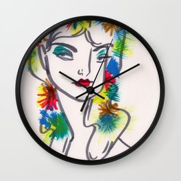 Flora in Her Hair Wall Clock