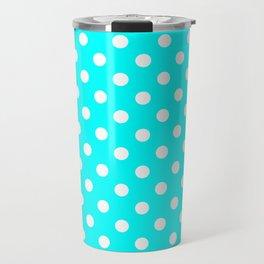 Small Polka Dots - White on Aqua Cyan Travel Mug