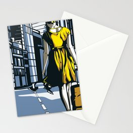 Girl walking on a London street Stationery Cards