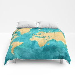 "Teal watercolor and gold world map with countries and states ""Lexy"" Comforters"