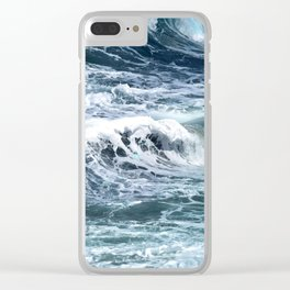 Blue Sea Ocean Waves Clear iPhone Case