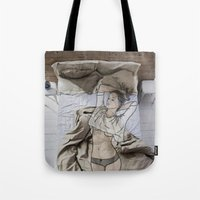 bed Tote Bags featuring A day in bed by Laure.B