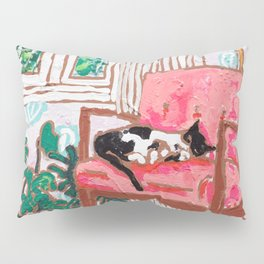 Little Naps - Tuxedo Cat Napping in a Pink Mid-Century Chair by the Window Pillow Sham