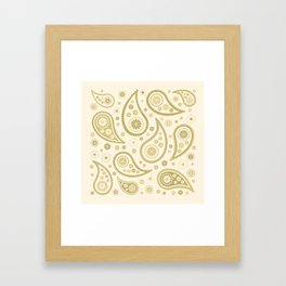 Paisley Funky Design Gold & Cream Framed Art Print