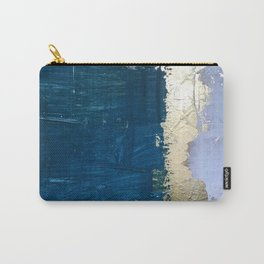 Rain [1]: a minimal, abstract mixed-media piece in blues, white, and gold by Alyssa Hamilton Art Carry-All Pouch