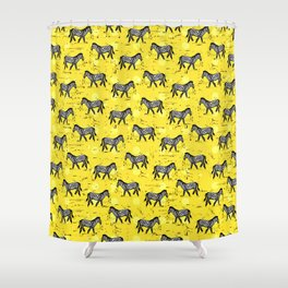 African Zebras – Animal Illustration Shower Curtain