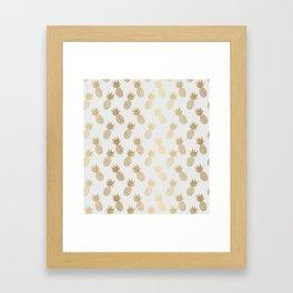 Gold Pineapple Pattern Framed Art Print