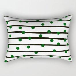 Modern black forest green polka dots stripes Rectangular Pillow