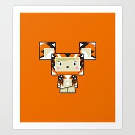 Cute Cartoon Blockimals Tiger Art Print
