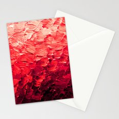 MERMAID SCALES 4 Red Vibrant Ocean Waves Splash Crimson Strawberry Summer Ombre Abstract Painting Stationery Cards