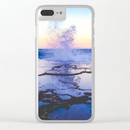 reflection of a wave crashing at sunset Clear iPhone Case