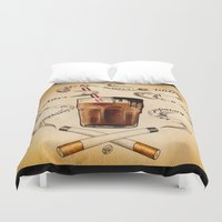 cigarettes Duvet Covers featuring Cigarettes and Chocolate Milk by Brittany W-Smith