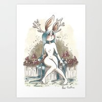 jackalope Art Prints featuring Jackalope by Laeti Vanille