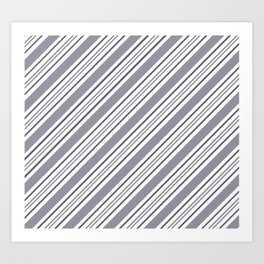 Pantone Lilac Gray and White Thick and Thin Angled Lines - Stripes Art Print