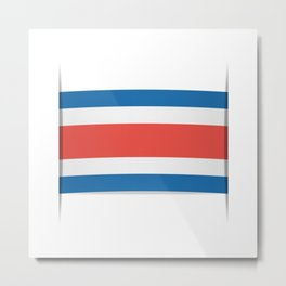 Flag of Costa Rica. The slit in the paper with shadows. Metal Print