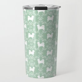 Chihuahua long haired mint and white floral silhouette pattern dog breed art Travel Mug