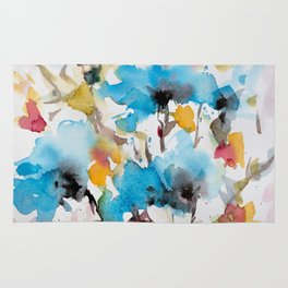 Abstract flowers in blue Rug