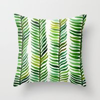 turquoise Throw Pillows featuring Seaweed by Cat Coquillette