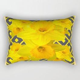 Golden Daffodils Grey Art Design Rectangular Pillow