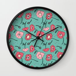 Pinky Posies on Turquoise Wall Clock