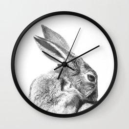 Black and white rabbit Wall Clock