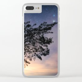 Amazing starry scene. Silhouette of a tree with colorful starry sky. Clear iPhone Case