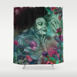 """Sirena between pastel cactus flowers"" Shower Curtain"