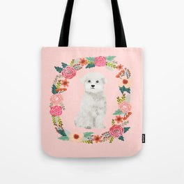 maltese floral wreath dog breed pet portrait pure breed dog lovers Tote Bag