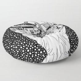 Escher - Self-portrait on a sphere Floor Pillow