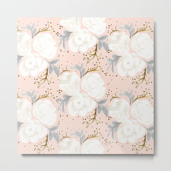 Sparking Blush Floral Metal Print