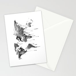 World map 2, black and white Stationery Cards