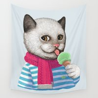 ice cream Wall Tapestries featuring Ice cream by Tummeow
