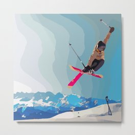 Man jumps with skies on piste with mountains and sky background Metal Print