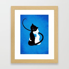 White And Black Cats In Love Framed Art Print