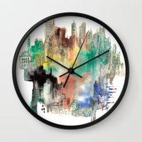skyline Wall Clocks featuring Skyline by I disegni di Mae