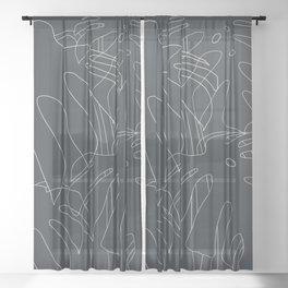 Monstera No2 Black Edition Sheer Curtain
