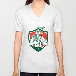 High Rise Window Cleaner Shield Retro Unisex V-Neck