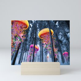 Winter Forest of Electric Jellyfish Worlds Mini Art Print