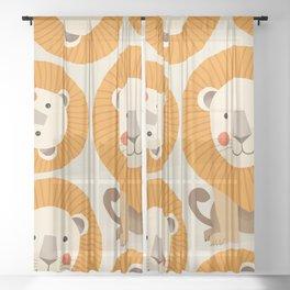 Lion, Animal Portrait Sheer Curtain