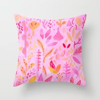 flora Throw Pillows featuring Flora by messy bed studio
