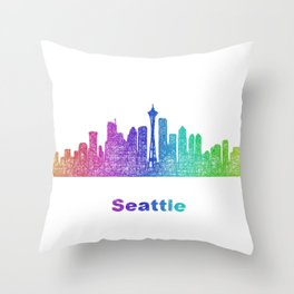 Rainbow Seattle skyline Throw Pillow