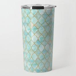 Luxury Aqua and Gold oriental pattern Travel Mug