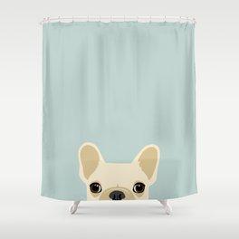 French Bulldog Peek - Cream on Dusty Blue Shower Curtain
