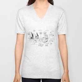 Funny Figurative Line Drawing of Alys Beach Community on 30a Unisex V-Neck