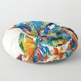 Colorful Cow Art - Mootown - By Sharon Cummings Floor Pillow