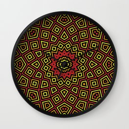 Red Orange and Yellow Kaleidoscope Wall Clock