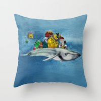 the whale Throw Pillows featuring whale by Кaterina Кalinich