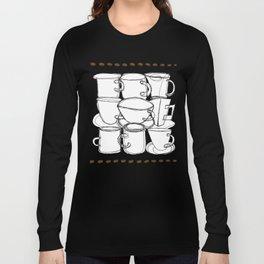 Coffee Beans and Mugs Long Sleeve T-shirt