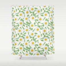 Daisies botanical floral print minimal flowers basic florals pattern charlotte winter Shower Curtain