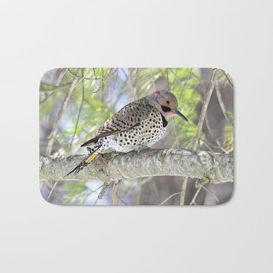 Northern Flicker Showing His Colors Bath Mat